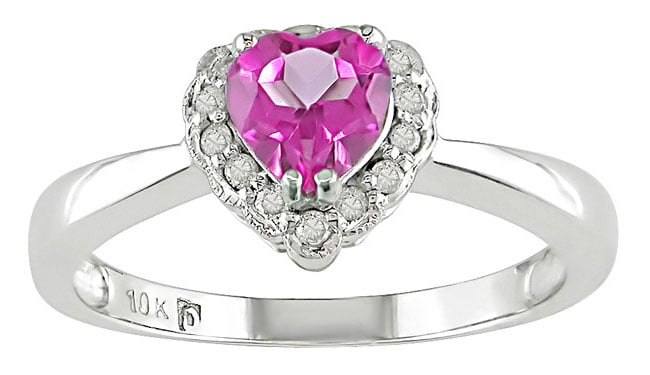 10k White Gold Heart-shaped Pink Topaz Ring