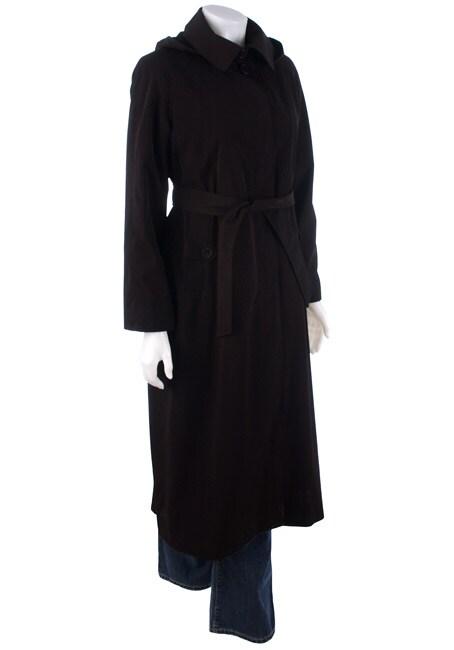 London Fog Petite Long Faux Silk Raincoat
