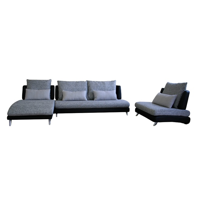Shepherd 3-piece Leather/ Fabric Sectional