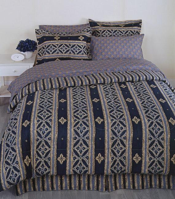 Indigo Stripe 4-piece Comforter Set