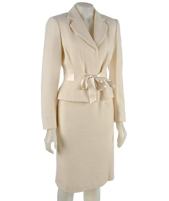 Tahari ASL Women's 2-piece Winter White Skirt Suit