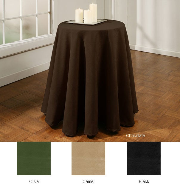 Suede 70 inch Round Tablecloth 10776906 Overstockcom Shopping Great Deals On Tablecloths