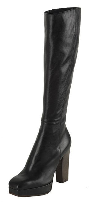 Y.S.L. Black Leather Knee-high Boots