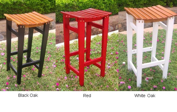 Backless Barstool with Antiqued UV Paint Finish