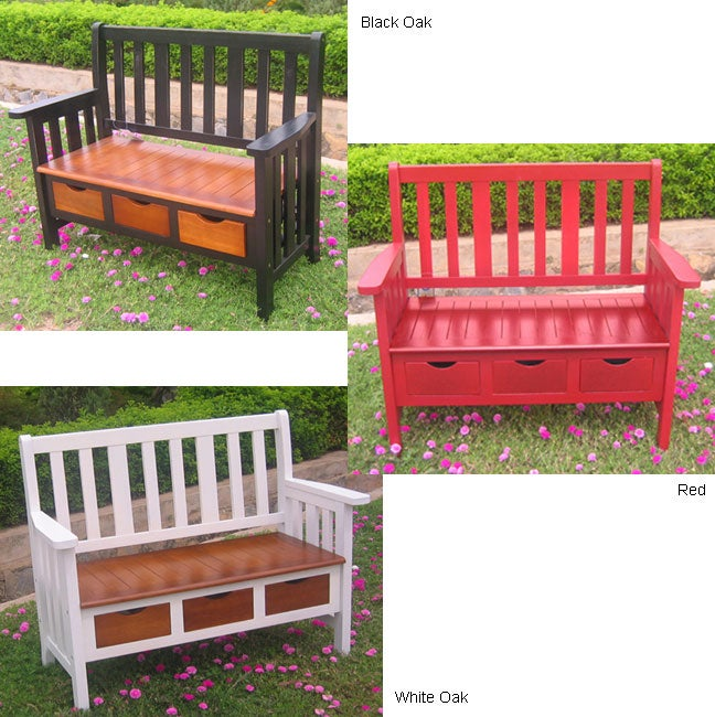 3-drawer Large UV Painted Acacia Bench w/ Arms