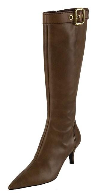 prada light brown leather knee high buckle boots