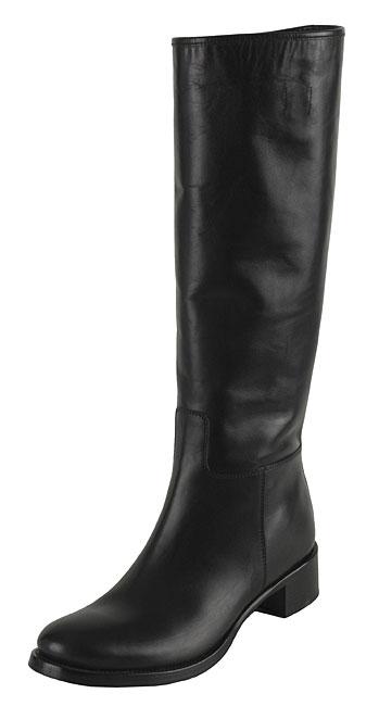 Prada Flat Black Leather Riding Boots