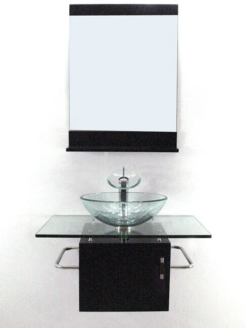 Wall-mount Glass Sink Vanity with Solid Wood Base