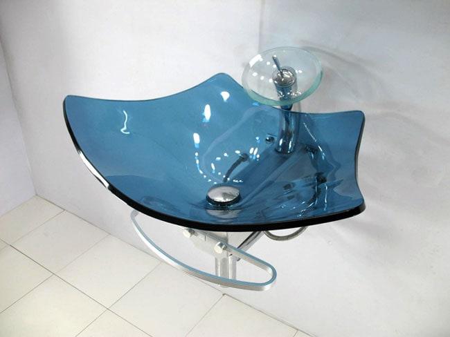 Blue Pedestal Sink : ... Vintage 36-inch Wall-mount Chrome Pedestal Bathroom Sink Vanity