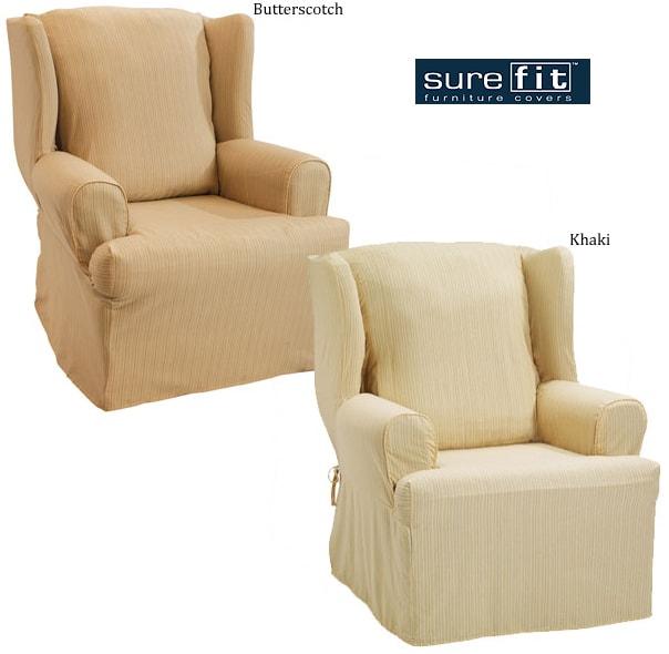 Sure Fit Hamilton Stripe Wing Chair Slipcover