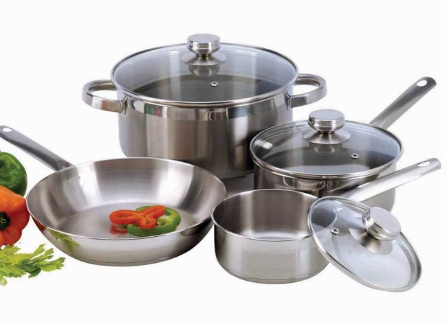 Lightweight Stainless Steel 7-Piece Cookware Set - Overstock ...
