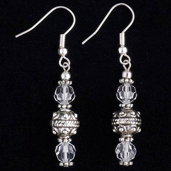 White Crystal & Silver Earrings