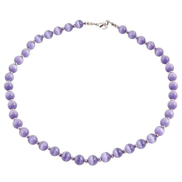 Silver Lavender Purple Tiger's Eye Necklace