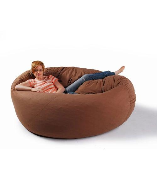 Zoe 6-foot Mocha Cocoon Beanbag Chair