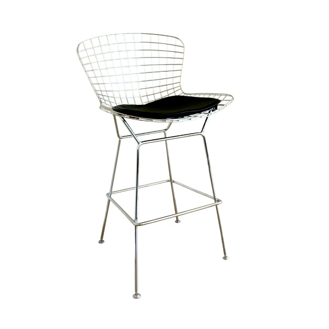 Tomkin Mesh Bar Stool With Leatherette Seat Pad 10822414