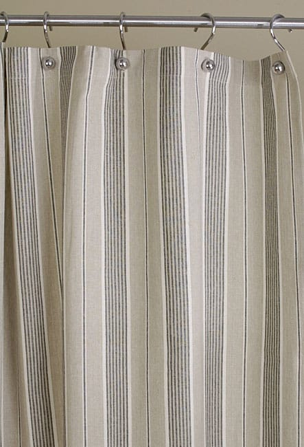Grey and Black Stripe Cotton Shower Curtain