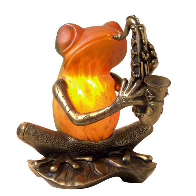 Frog Playing A Saxophone Tiffany Style Accent Lamp