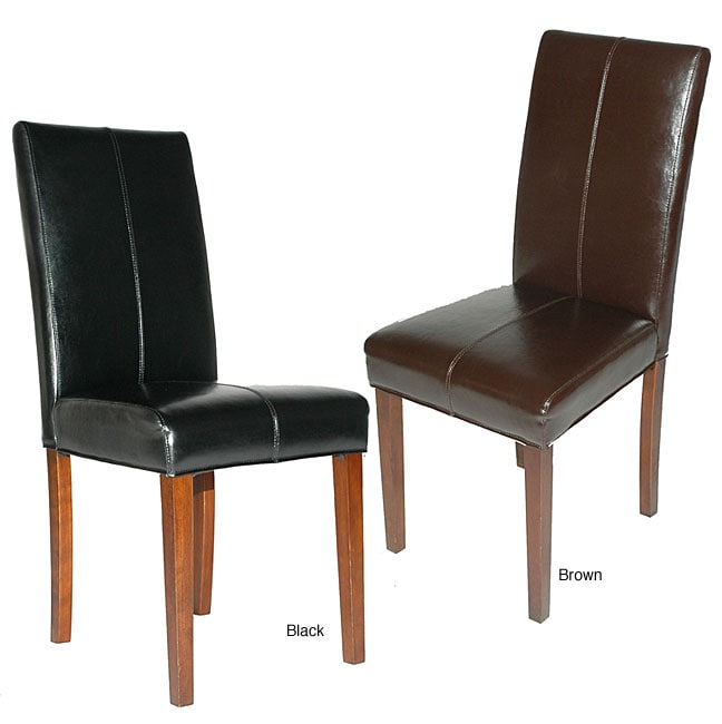 Leather parsons chair set of 2 10828455 overstock for Black leather parsons chairs