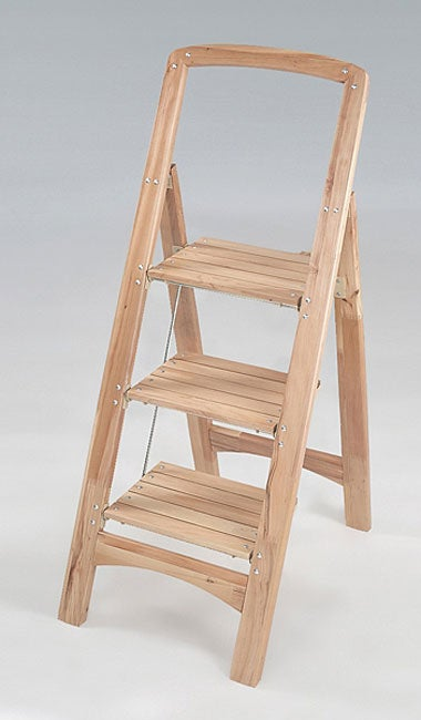 Three Step Wooden Step Stool 10849813 Overstock Com