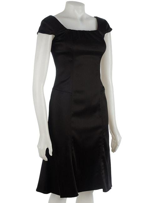 Anne Klein Stretch Satin Cap Sleeve Dress