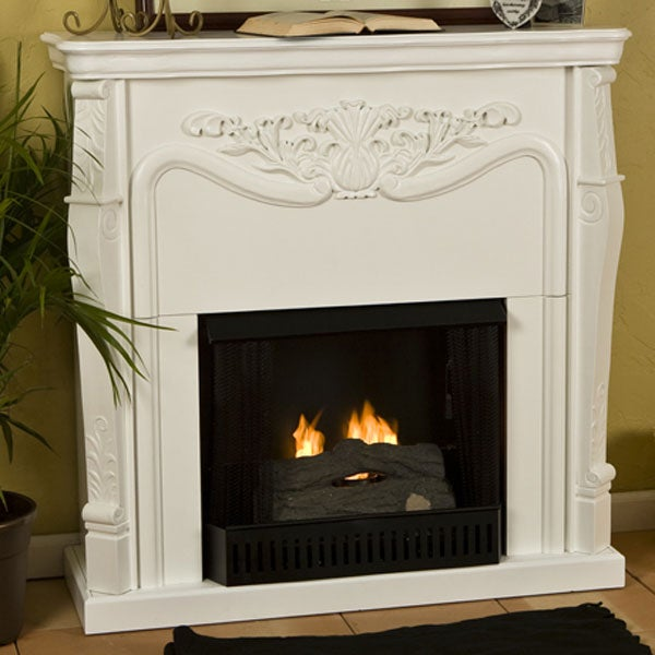 Vienna Antique White Gel Fuel Fireplace Overstock Shopping Great Deals O