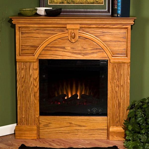 Turin Golden Oak Electric Corner Fireplace - Overstock ...