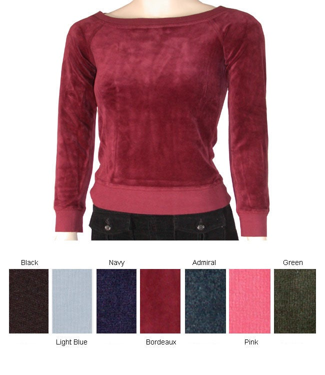 Juicy Couture Long-sleeve Boat Neck Velour Top