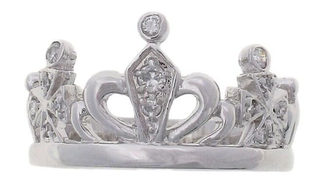 Tressa Sterling Silver Polished Crown Jewel CZ Ring