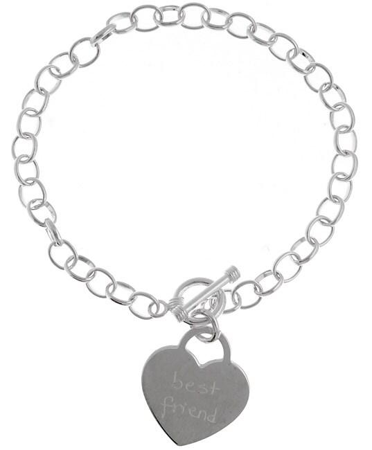 Sterling Silver Best Friend Tween Heart Bracelet