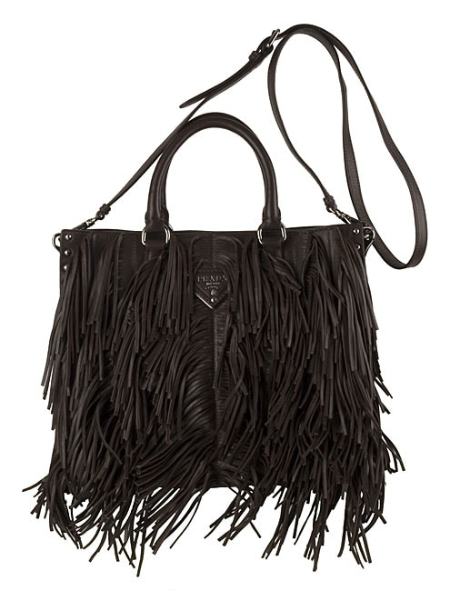 Prada Dark Brown Nappa Leather Fringe Bag - 10855705 - Overstock ...
