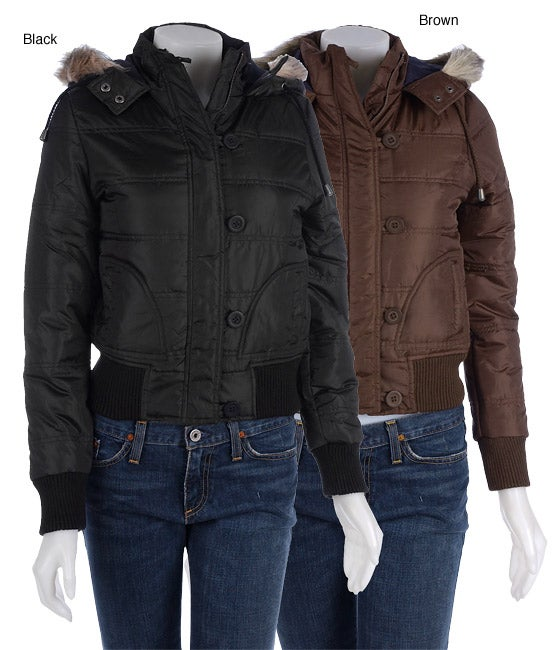 Zenana Puffer Bomber Jacket with Faux Fur Trim Hood