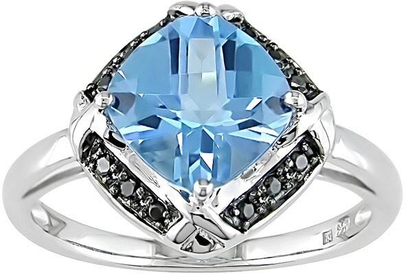 14k White Gold Blue Topaz & Black Diamond Ring