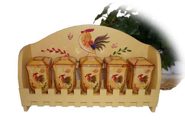 Sunshine Rooster Hand-painted 5-piece Spice Rack