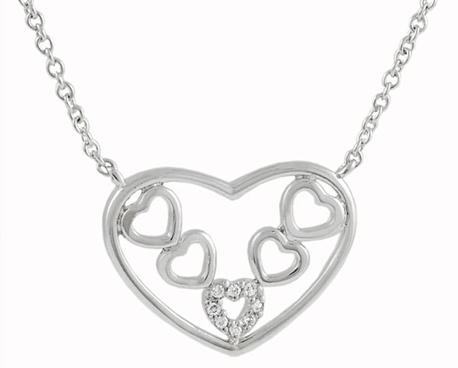 Sterling Silver Hearts Inside Heart Necklace