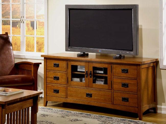 Mission Solid Oak Plasma TV Console