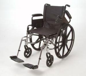 20-inch Wide Superlight Wheelchair with Foot Rests