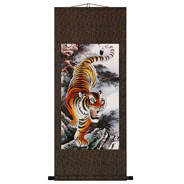 'Roaring Tiger' Chinese Art Wall Scroll Painting