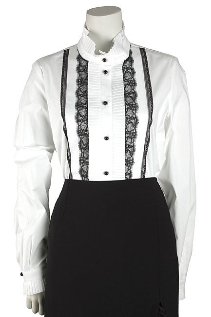 Valentino Roma Tuxedo Blouse with Lace Trim