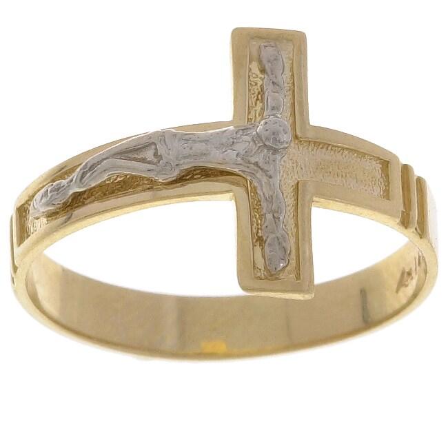 14k Two tone Gold Crucifix Ring
