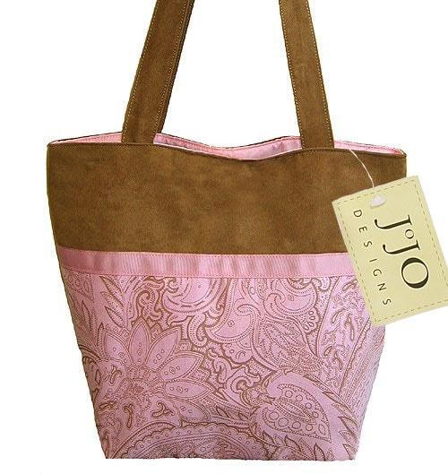Sweet Jojo Designs Pink and Chocolate Microsuede Handbag