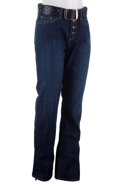 Zena Dark Blue 5-pocket Belted Fly Jeans