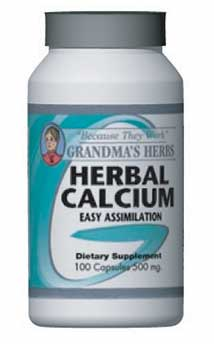 Grandma's Herbs 500mg Herbal Calcium Supplement (100 Capsules)