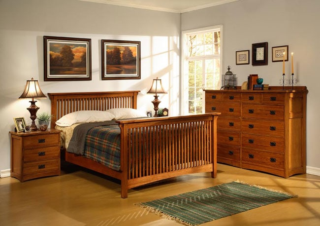 mission solid oak 4 piece cal king bedroom set w 12 drawer chest