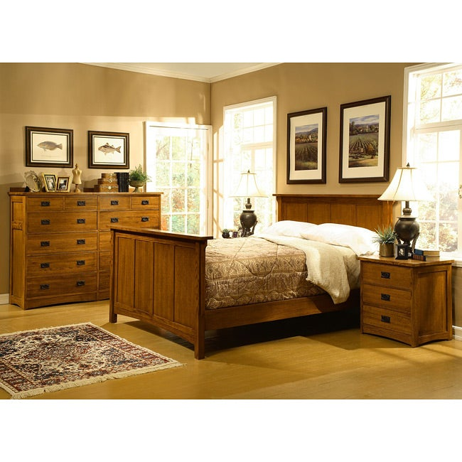 mission solid oak 4 piece queen bedroom set w 12 drawer chest