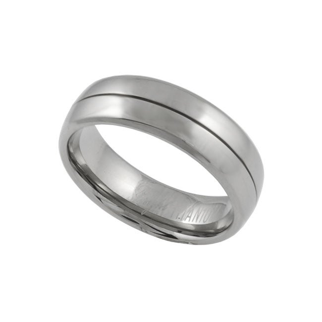 Men's Titanium Comfort Band Ring with Polished Finish