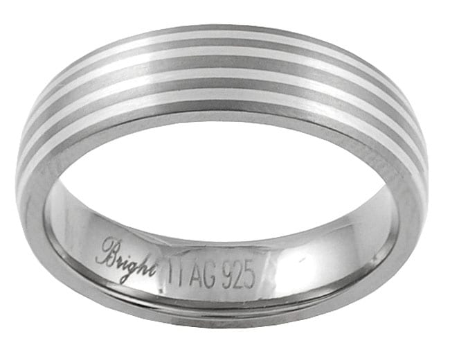Journee Collection Men's Titanium and Sterling Silver Comfort Band