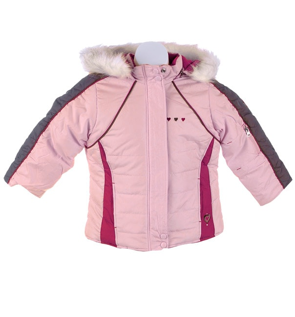 Amy Byer Girl's Pink Jacket with Faux Fur
