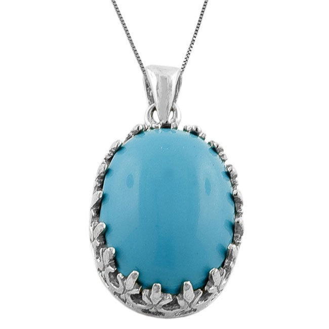Fremada Sterling Silver Turquoise Oval Necklace