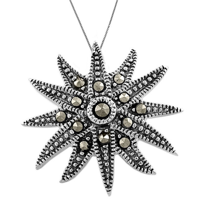 Sterling Silver Marcasite Sunflower Necklace