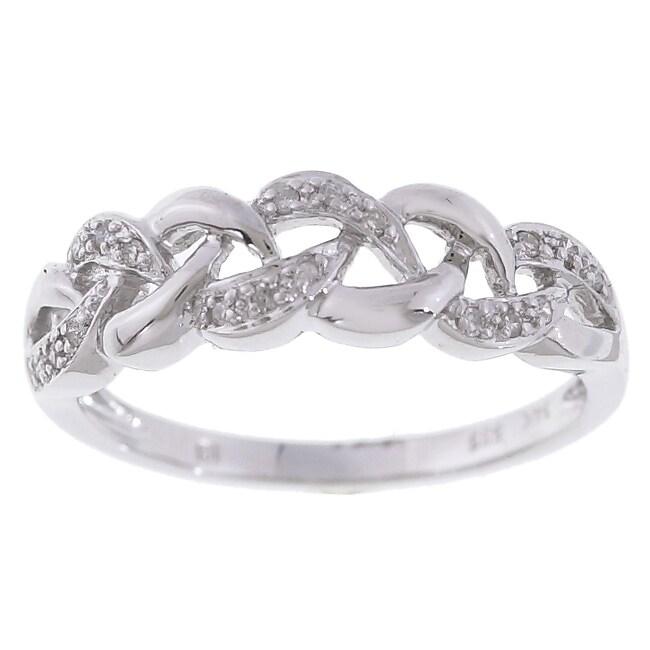14k White Gold Diamond Wavy Band Ring